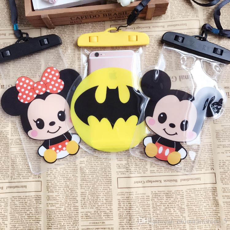 Cartoon Waterproof Mobile Phone Case For iPhone X 7 6 Plus Samsung Clear PVC Sealed Underwater Cell Smart Phone Dry Pouch Cover