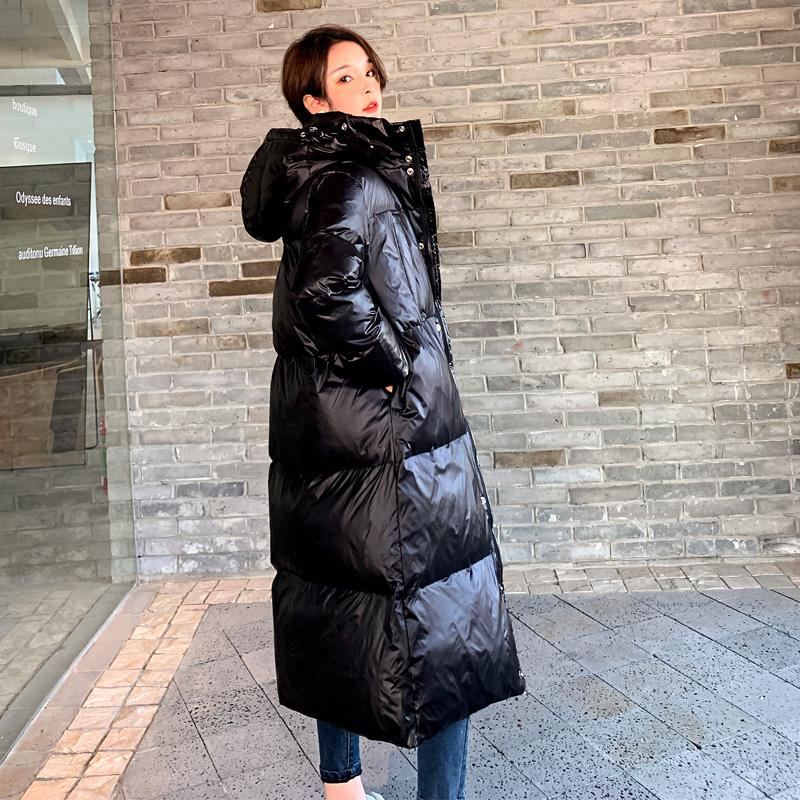 Korean Loose Black Shiny Down Jacket Women's Clothing Long Parkas Jackets 2020 New Winter casual Cotton Coat Women Overcoats b13