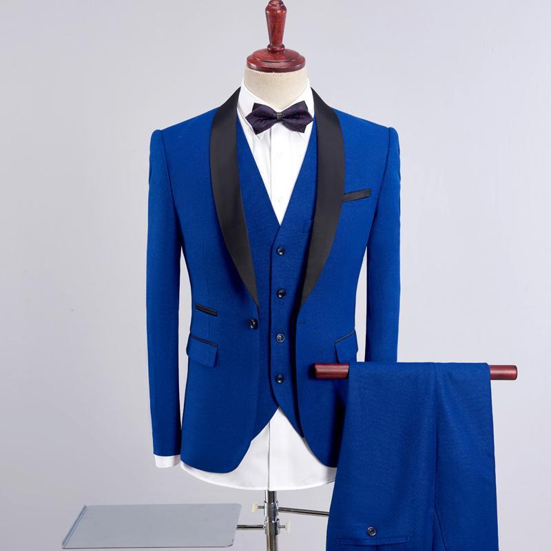 2019 nuevo traje de marca de moda de los hombres de 3 piezas vestido de novia novio Conjunto de banquetes de negocios trajes para hombre Chaqueta hombre (+ chaleco + pantalones)