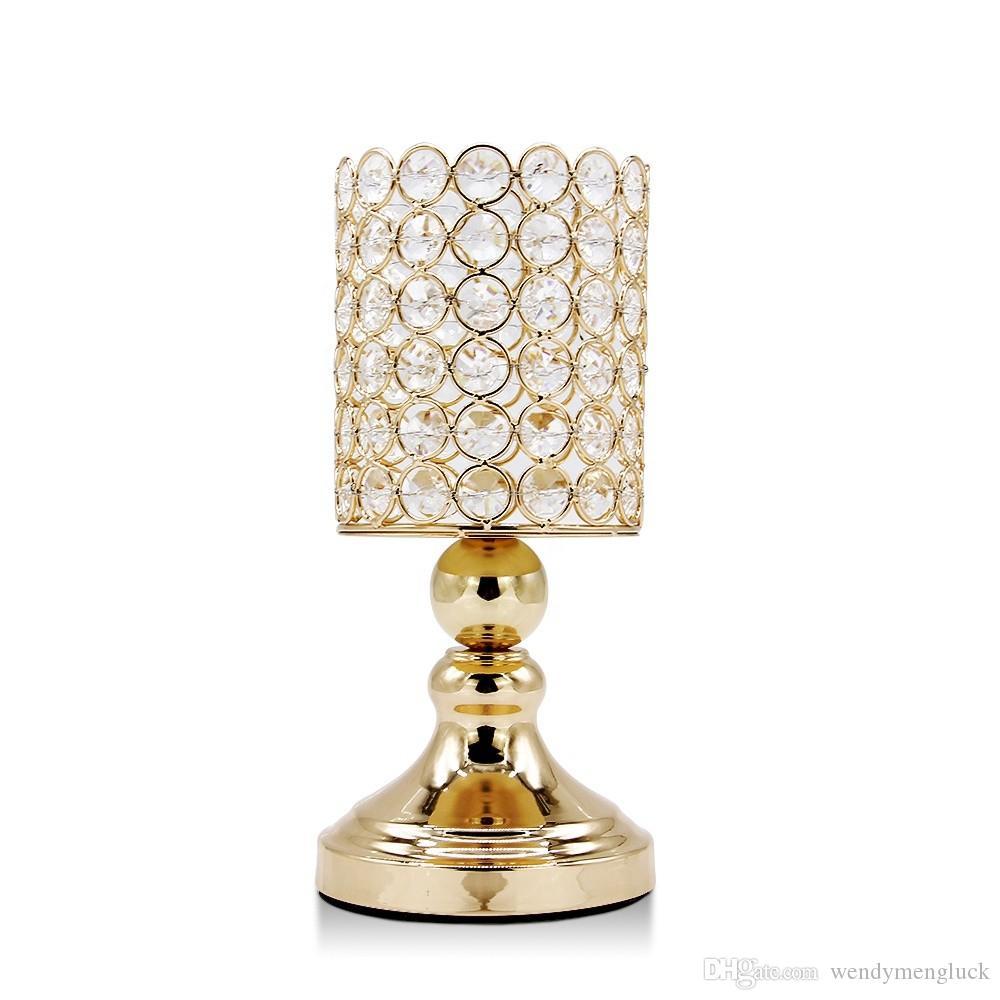 Metal Crystal Gold Cylinder Ball Pillar Glass Candlestick Holder for Bars Wedding Office Hotel Home Decoration