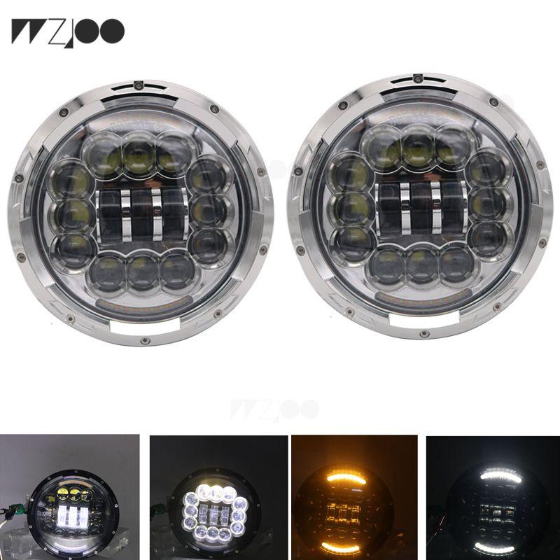 Faros LED redondos de 7 pulgadas Conjunto de haz sellado para Jeep Wrangler JK LJ TJ CJ DJ H4 Blanco frío HALO Señal de giro DRL