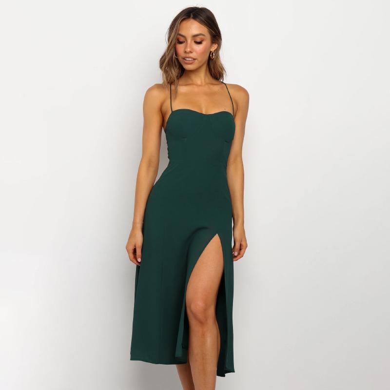 Festa Mulher Vestidos Verde Summer Night Halter Sling Clube Dividir sexy vestido simples e elegante Vestidos Mulheres Vestidos Casual Vestido Ladies