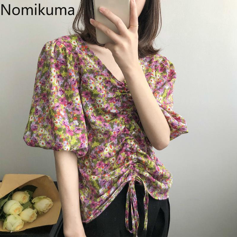 Nomikuma 꽃 한국 여자 블라우스 짧은 소매 V 목 셔츠는 2020 여름 졸라매는 끈 주름을 잡은 Blusas Mujer De Moda6A211 를 꼭대기에 오릅니다