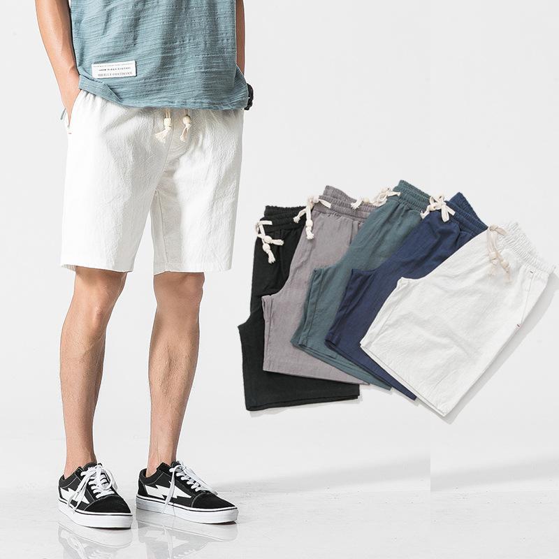 2020 New Summer Casual Shorts Hommes Coton Lin Taille Plus court solide Mode homme homme shorts de plage 4XL 5XL bermudes masculina