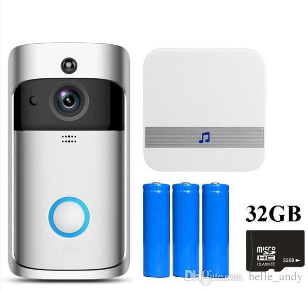 EKEN فيديو واي فاي جرس الباب V5 سمارت هوم جرس الباب الرنين 720P HD كاميرا الفيديو في الوقت الحقيقي في اتجاهين ليلة الرؤية الصوت PIR كشف الحركة