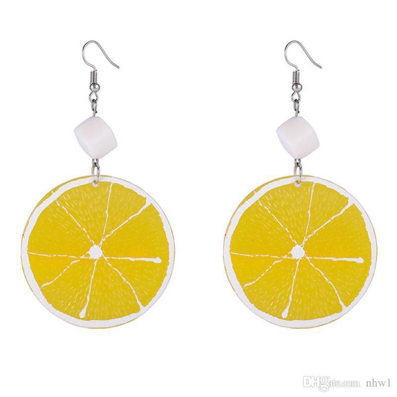 1 par de resina gota de limão Brincos para Mulheres Meninas Verão Ins Fruit Dangle Brincos Jóias presente