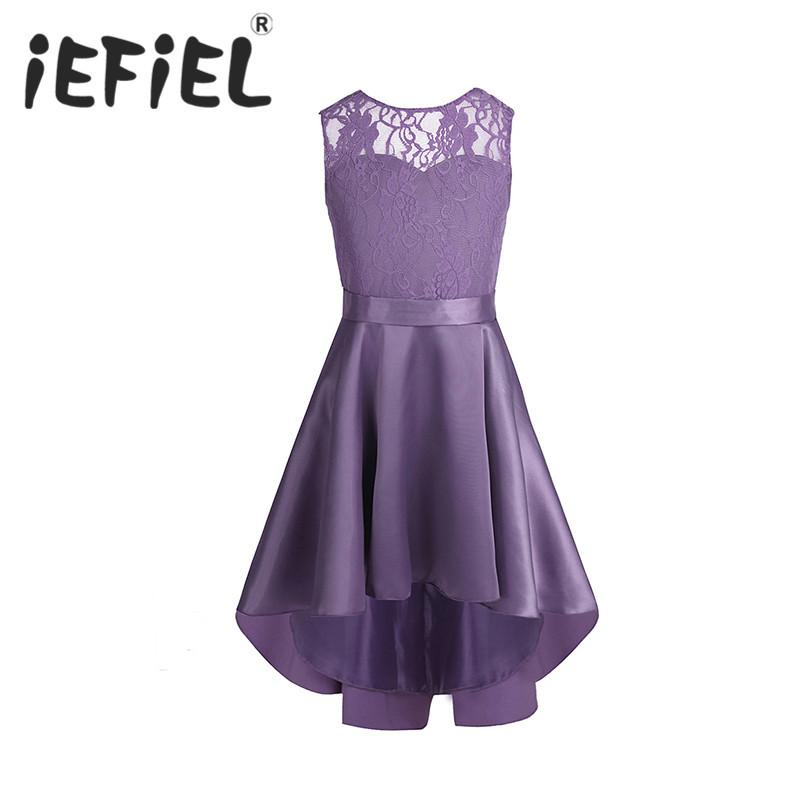 iEFiEL sleeveless Girls children Flower lace Tulle princess Dresses for Bridal wedding Prom Party Formal Occasion Teenage Dress