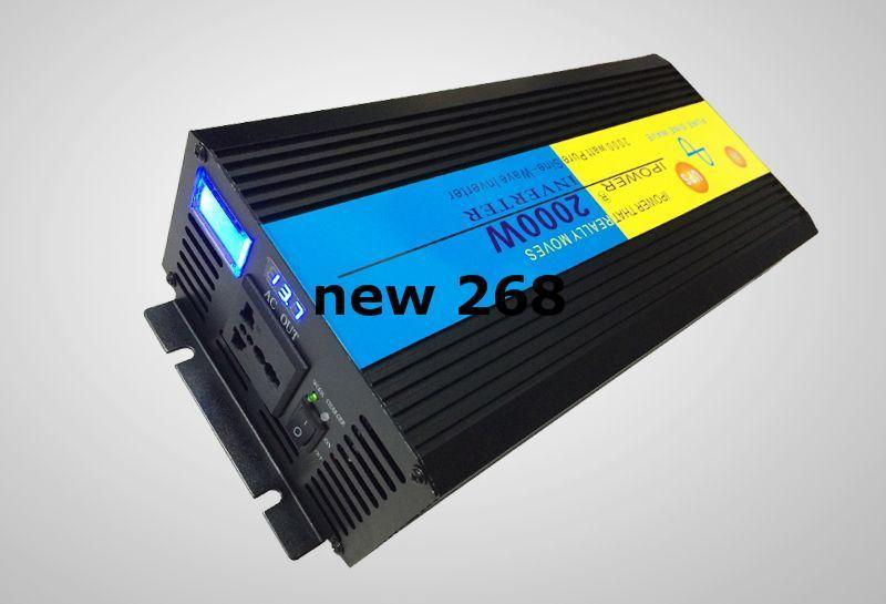 Freeshipping Double LCD DISPLAY 2000W 2000 WATT 12v To 220V Pure Sine Wave Power Inverter+Charger & UPS Quiet Fast Charge DHL