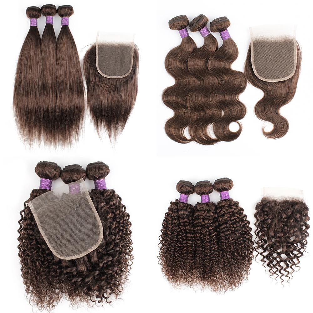 # 2 # 4 Brown di colore 3 fasci con chiusura a 200g / set dei capelli umani a buon mercato indiano brasiliano di trama corpo dritto jerry ricci