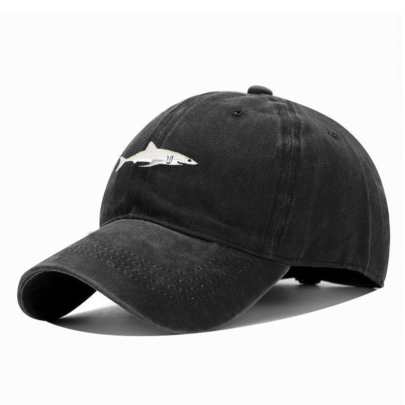 2021 상어 야구 모자 씻어 자수 정점 캡 야생 유행 남성과 여성 태양 보호 캡