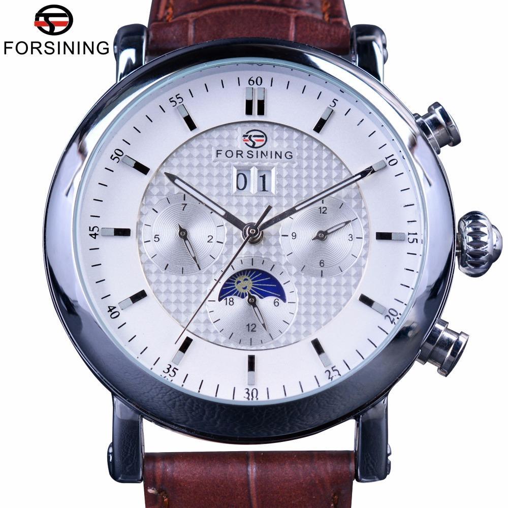 Forsining Mode Tourbillion design cadran blanc Moon Phase Affichage du calendrier Hommes Montres Top Marque de luxe automatique Montre bracelet