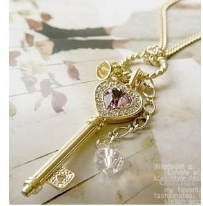 Imitation Amethyst Love Sweater Chain Golden Crown Key Pendant Charm Necklace