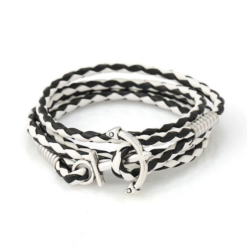 Pulseira Fish Hook Pu couro corda vários andares Weave Anchor Bracelet Marinha concisos Ornamentos Personalidade