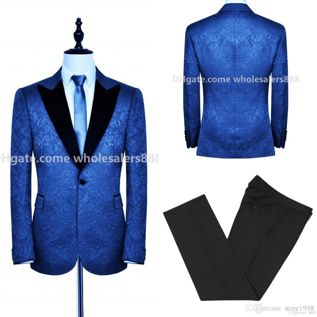 Yakışıklı Groomsmen Tepe Siyah Yaka Damat Smokin Kabartma Erkekler Düğün / Balo / Akşam Yemeği En Adam Blazer Suits (Ceket + Pantolon + Kravat) B412
