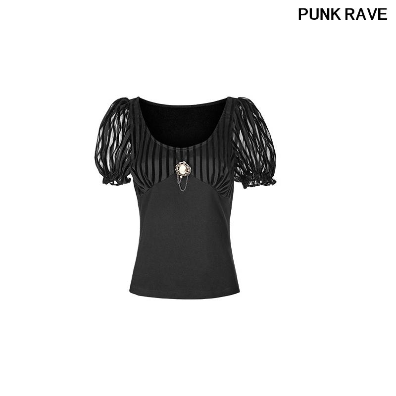 Puff Kol Özlü Stil Tişörtlü Steam Punk Kadınlar siyah tişört PUNK RAVE WT-489TDF sayesinde Moda Broş Kısa Kollu bakın