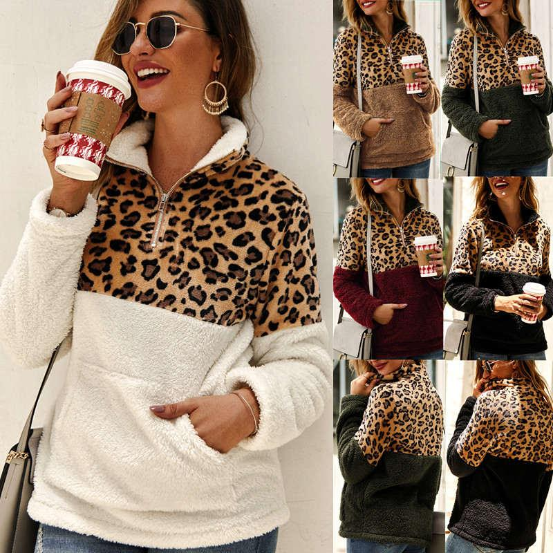 Moda Kalınlaşmak gömlek kadınlar sonbahar sıcak Leopard Kazak Kanguru cebi uzun kollu kadın Casual dış giyim kış giydiriyoruz s-xxl Sweatshirtler