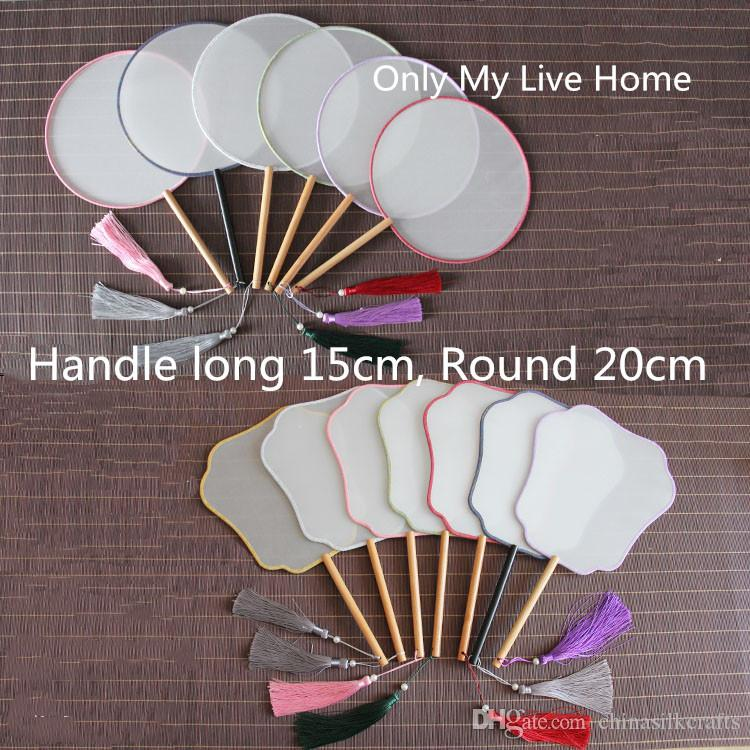 Color edge White Chinese Silk Fan Round Long Birch Handle Dance Fans Personalized Wedding Blank Hand Fans DIY Embroidery Hand Painting