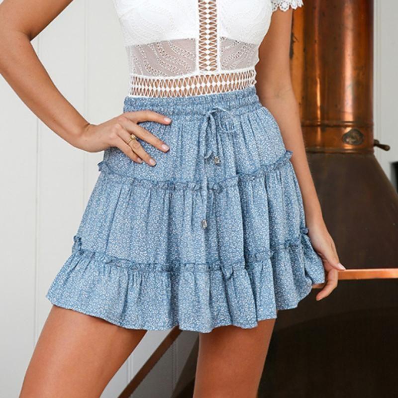 Skirts Sexy Women Fashion High Waist Frills Skirt For Broken Flower Half-length Printed Beach A Short Mini #t1g
