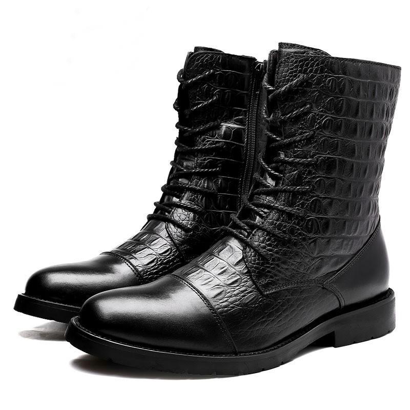 Unisex Altezza crescente scarpe da uomo stivali polpaccio pieno grano stivali di pelle scarpe da donna in cotone a grana coccodrillo lace pelle bovina stivali 701