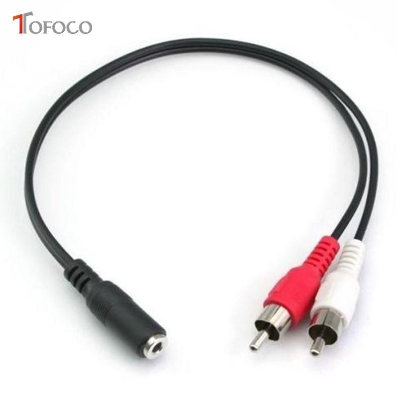저렴한 USB 케이블 TOFOCO 듀얼 20CM RCA 케이블 스테레오 오디오 비디오 어댑터 3.5mm의 케이블 두 여자 단자에 2RCA 남성 소켓 3.5