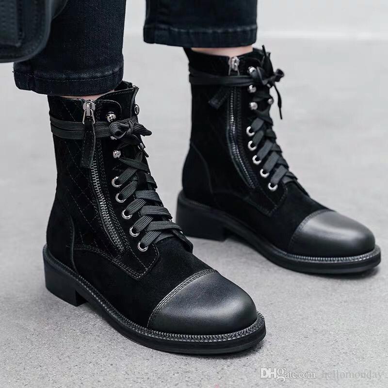 Botas de combate del diseñador de moda de lujo de las mujeres de la cremallera Botas de piel de caballero de alta Tops nieve de las mujeres botas de invierno caliente del partido de la puerta de salida del zapato con cordones Zapatos