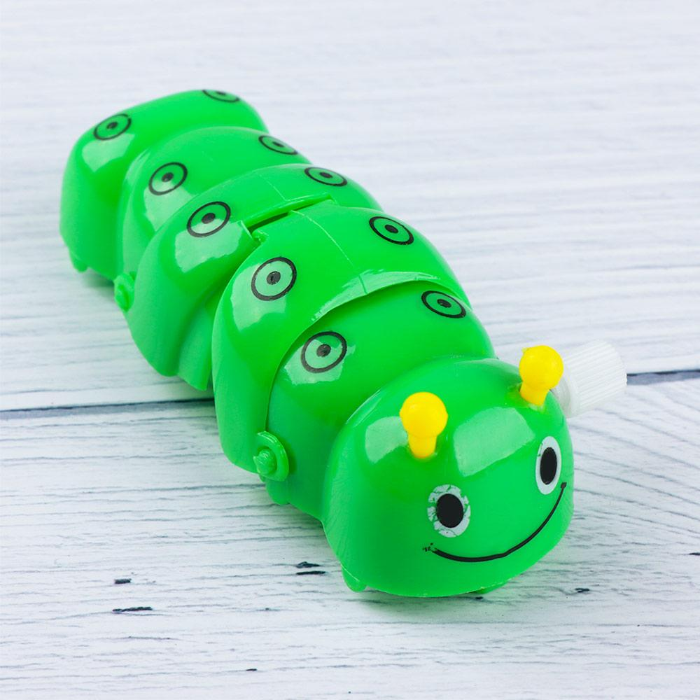 Mini Color Random Caterpillar Shape Clockwork Toy Funny Lovely Cartoon Plastic Wind Up Toy Classic Toy for Baby Kids 4pcs