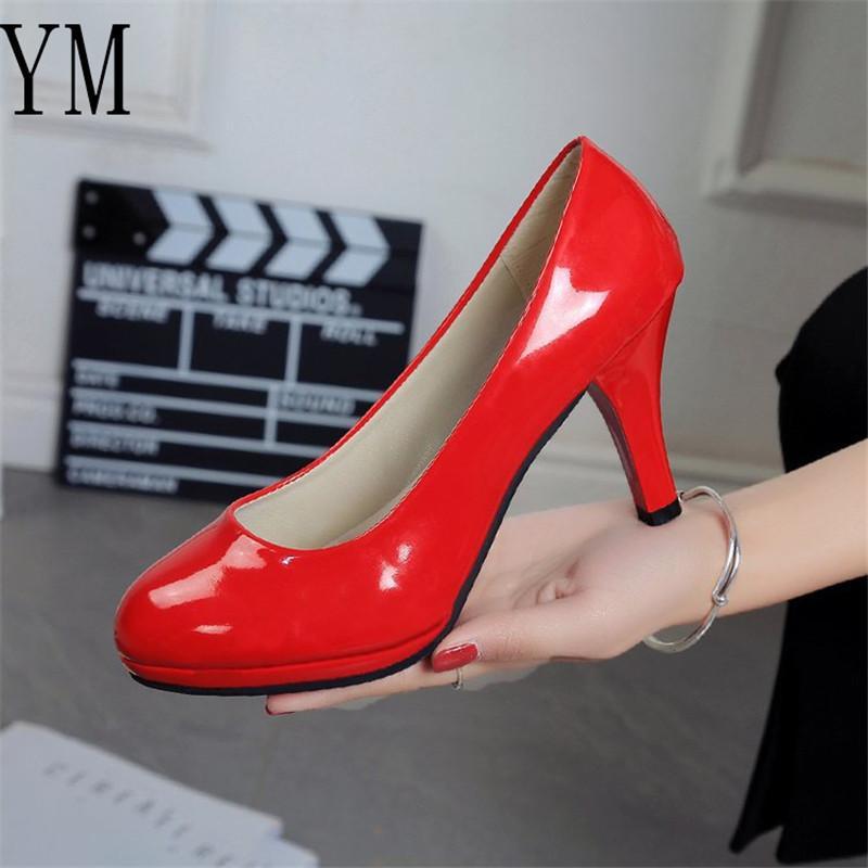 Seksi Gelin Yeni Kadın Moda Klasik Rugan 8CM Yüksek Topuklar Ayakkabı Keskin Kafa 4 Coolour Paltform Düğün Artı 42 Pompaları