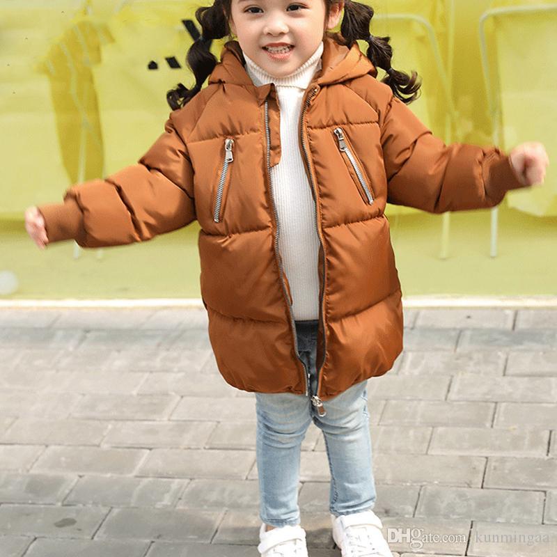 Manteau de veste automne / hiver pour garçon de vêtements pour fille unisexe tissé solide capuche longue fermeture à glissière mode chaud Outwear