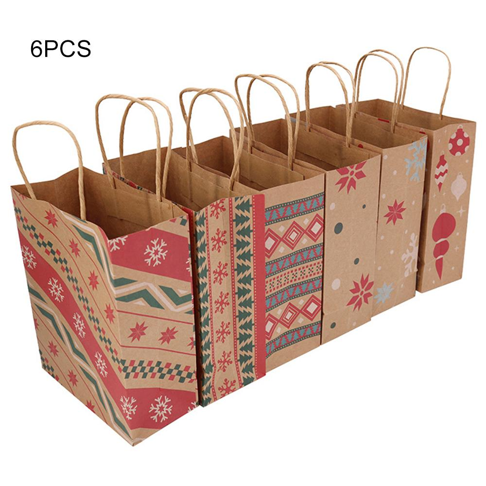 6 /12 Pcs Christmas Kraft Paper Bags with Handle Santa Claus Elk Candy Chocolate Cookies Gift Bag Party Supplies Wedding Favor