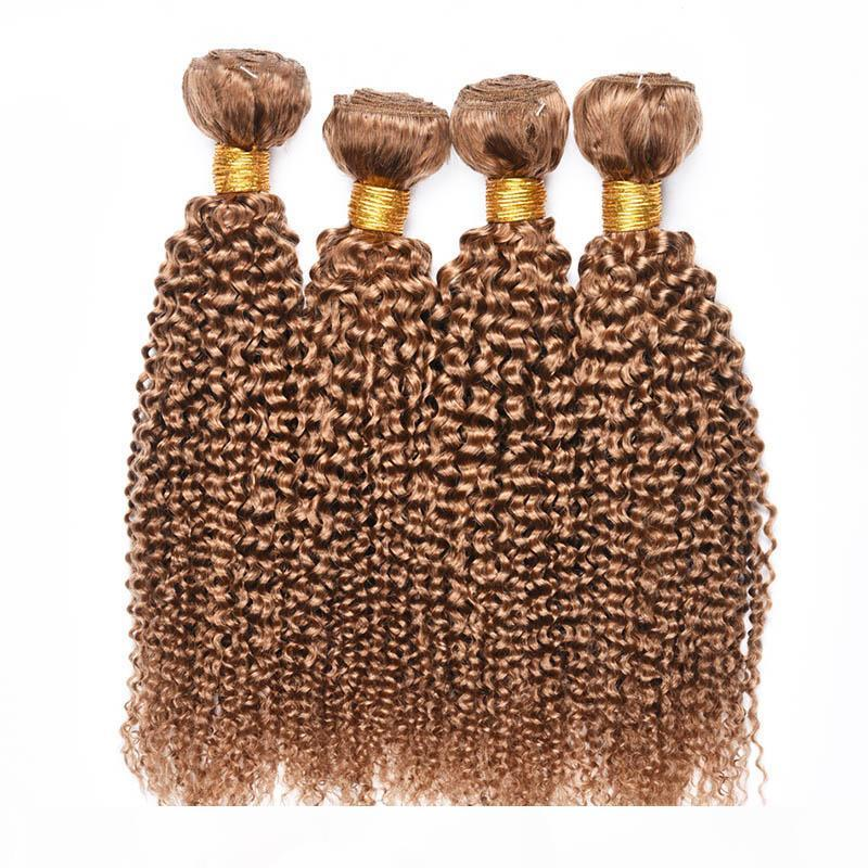4 Pcs Human Hair Bundles Kinky Curly 27# Honey Blonde Brazilian Peruvian Malaysian Virgin Curly Human Hair Weaves Extension Cheap Deals