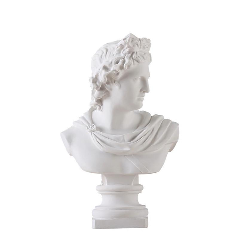 Apollo Head Portraits Bust Gypsum Greek Mythology Adelos Statue Home Decoration Resin Art&Craft Sketch Practice 31cm L1596 T200619