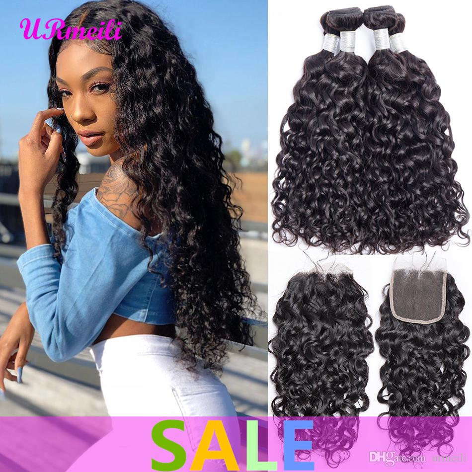 10A Peruvian Water Wave Bundles With Closure 3/4 Bundles Human Hair Weave With Lace Closure Remy Peruvian Virgin Hair Bundles With Closure