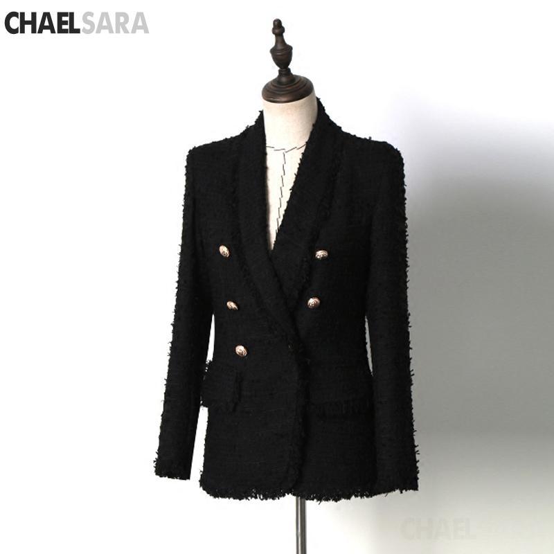 Alta calidad negro borla mujeres Tweed abrigo 2019 otoño invierno doble botonadura chaqueta de manga larga abrigo moda Runway Coat