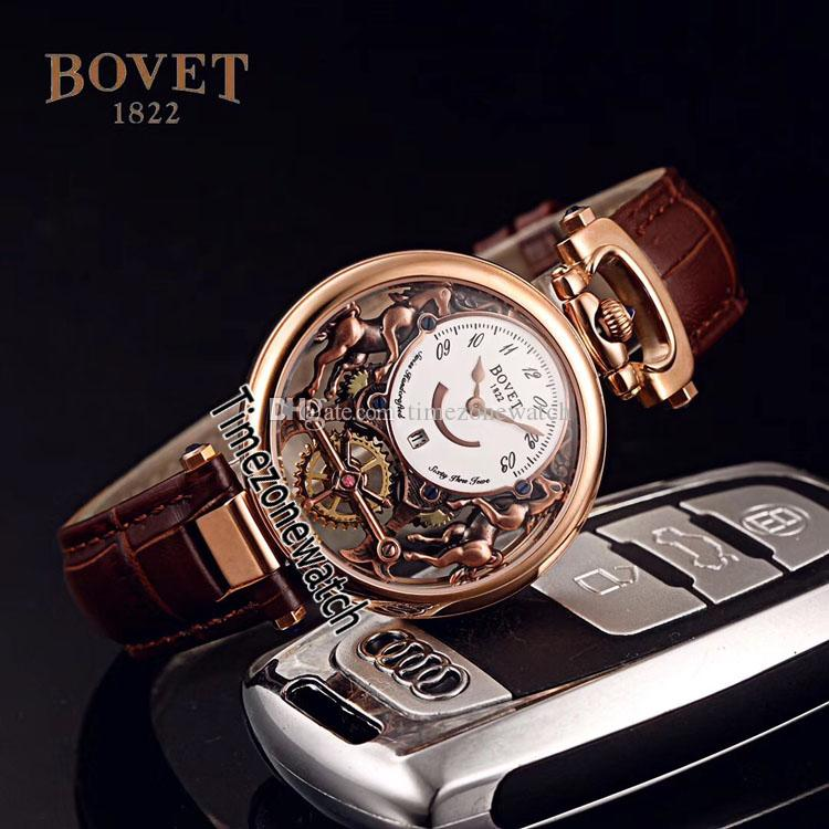 Bovet Swiss Quartz Mens Watch Amadeo Fleurier Rose Gold Skeleton White Dial Watches Brown Leather Strap Watches Cheap Timezonewatch E03c3