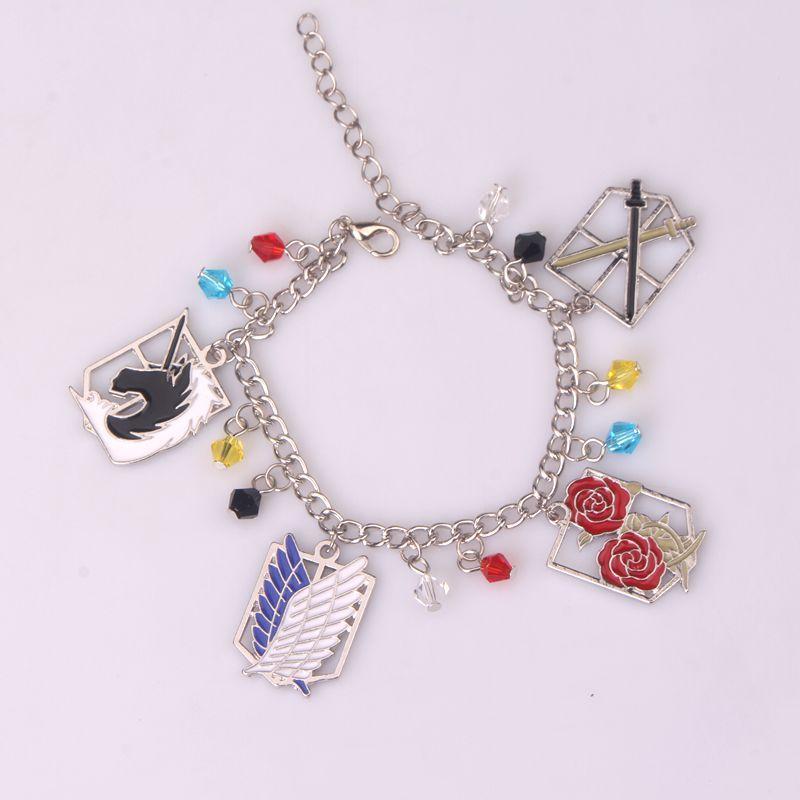El más nuevo ataque a Titan Charm Bracelet Handmade Flower Anime Cosplay Pulseira Feminina pulsera de plata