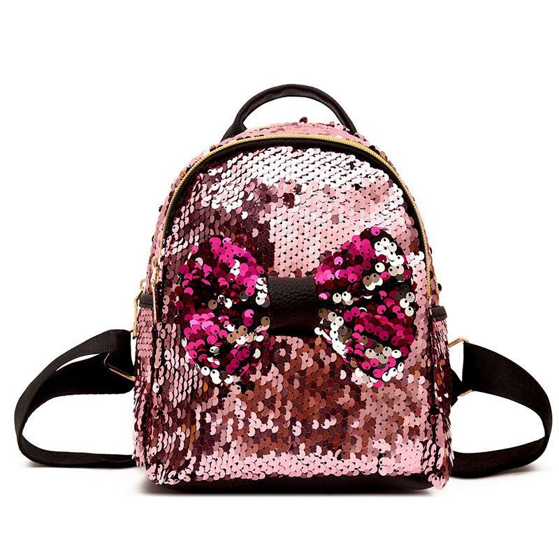 Lantejoula Mini Mochilas para As Mulheres Bonito Arco Pequeno Mochila Meninas Bagpack Verão Moda Glitter Em Forma de Senhoras Mochila