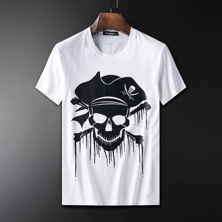 Siyah Beyaz Moda Yaz Erkekler T Shirt Yaz Pamuk Tees Kaykay Hip Hop Streetwear T Gömlek 001