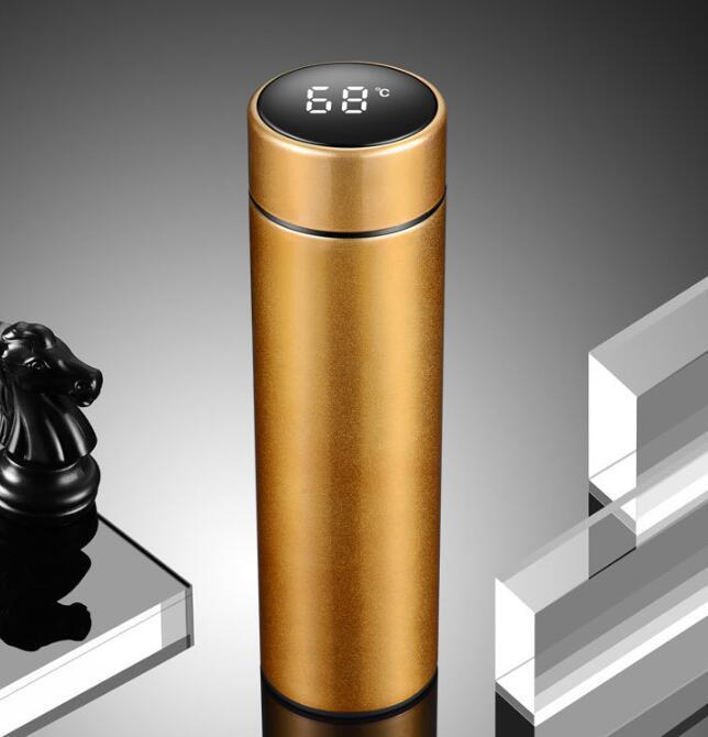 500ML intelligent bouteille d'eau Gobelets LED Affichage de la température Coupes à isolation sous vide en acier inoxydable étanche à vide Tasse bouilloire GGA3347-5