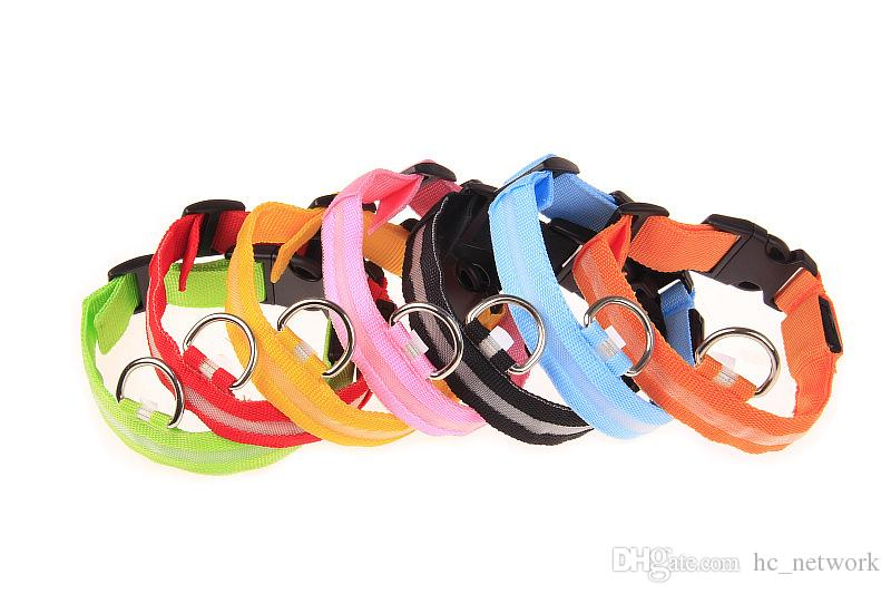 Nylon LED Pet Dog Collar Pet Dog Cat Collar Dog Leash Dogs Luminous Fluorescent Collars Pet Supplies