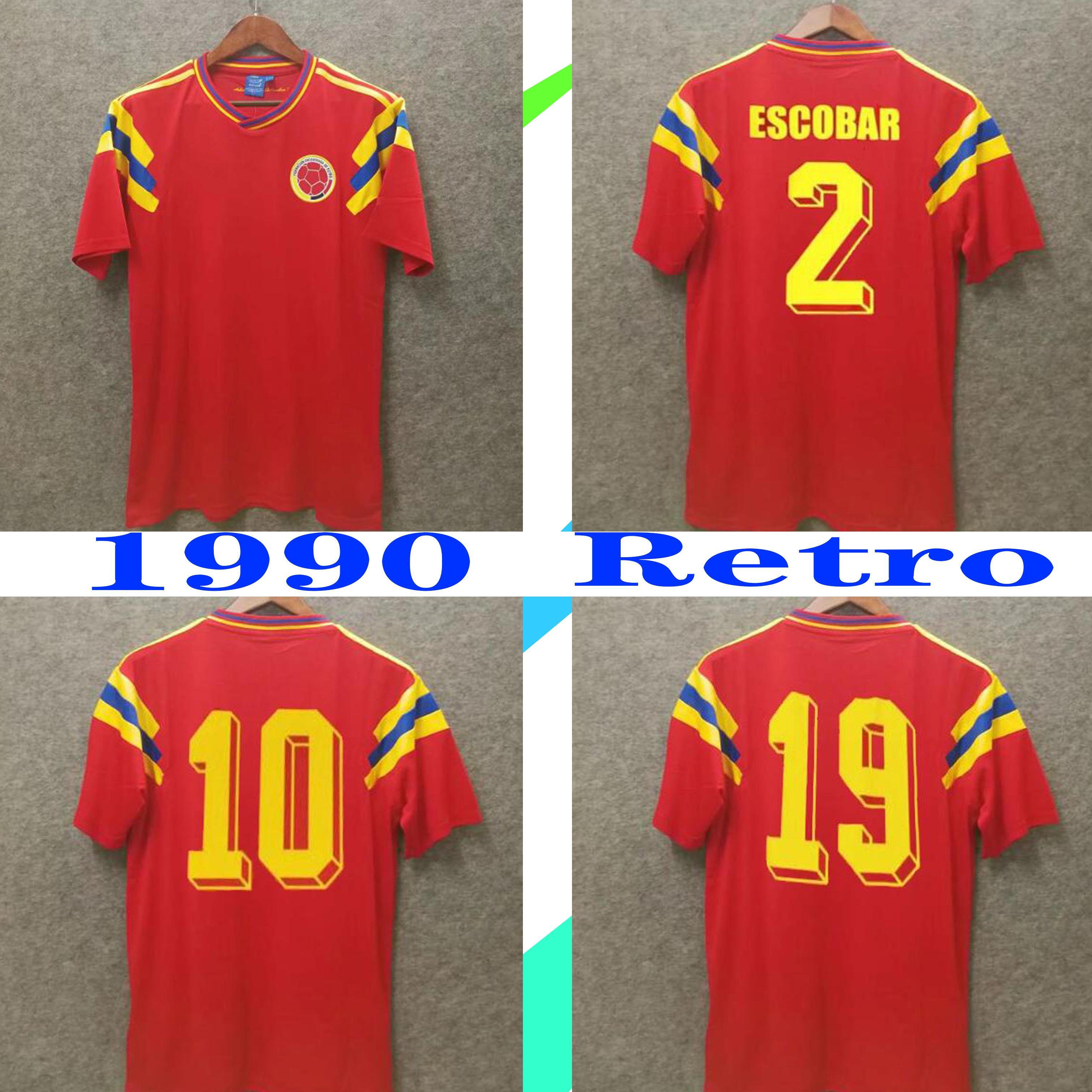 كولومبيا 1990 ريترو لكرة القدم جيرسي # 10 فالديراما # 9 غيريرو الأحمر بعيدا إحياء ذكرى الكلاسيكية جمع العتيقة خمر camisa دي futebol