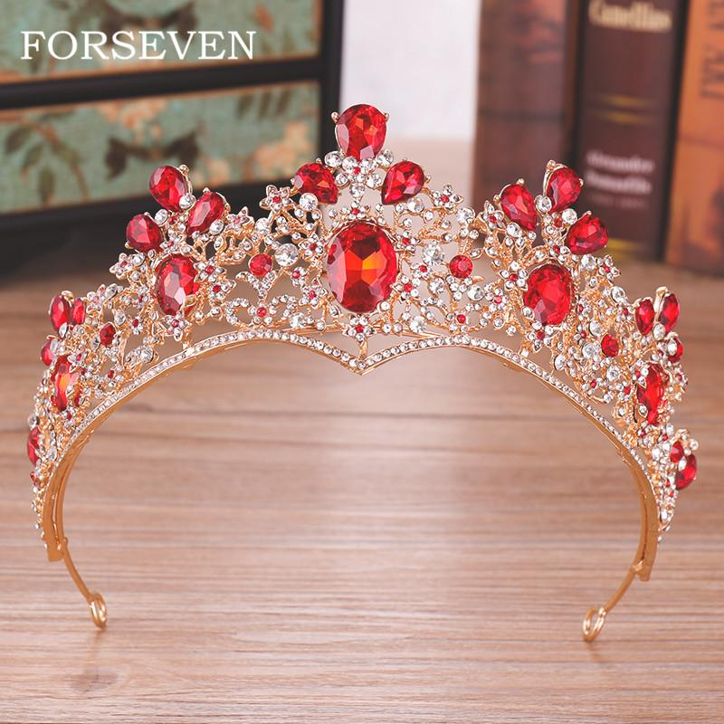 Red Crystal Wedding Crown Queen Tiara Bride Crown Headband Bridal Accessories Diadem Marry Hair Jewelry Ornaments