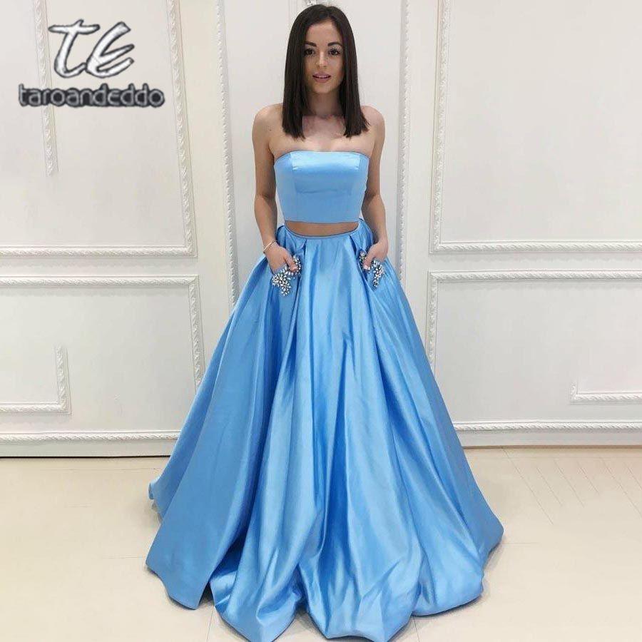 Без бретелек две части длинные платья выпускного вечера линия рукавов бисером вечернее вечернее платье с карманами Vestido де Фиеста