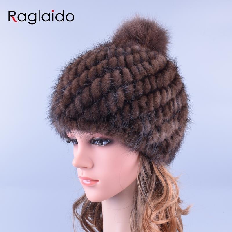 Raglaido Pompom reales de piel de visón sombreros para mujeres con el casquillo Gorros de piel de zorro Pompones de punto de invierno espesan la Marca Cap LQ11192 MX191116