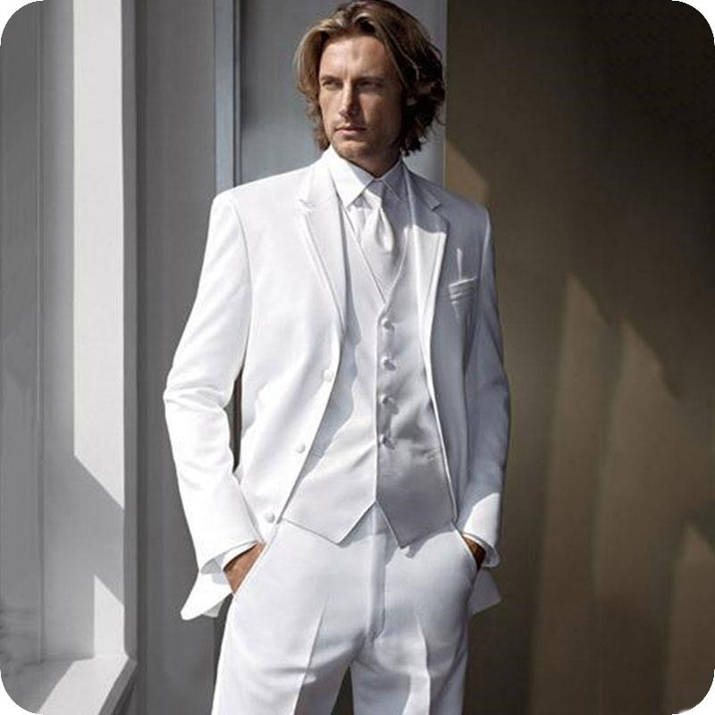 Costumes blancs personnalisée pour les pantalons de costume d'affaires classique hommes Groom Tuxedo Terno Masculino Costume Homme Mariage 3piece Homme Blazer