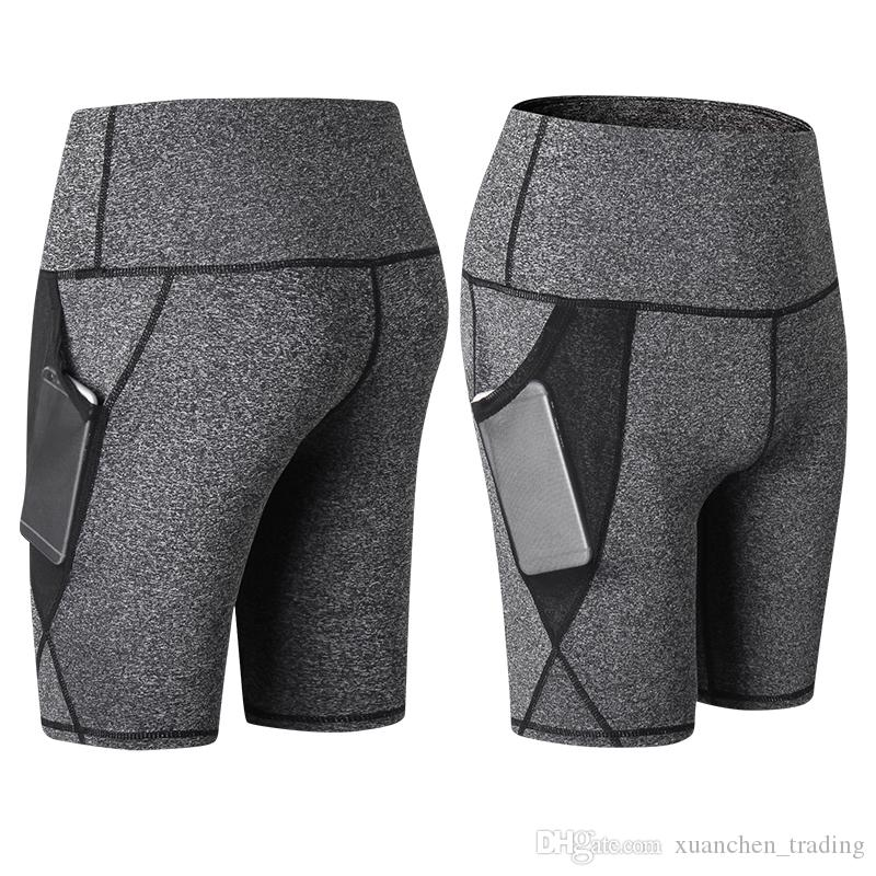 Women's High Waist Shorts Fitness Gauze Pocket sport pants for Yoga Running Activewear Workout Gym Female tight shorts