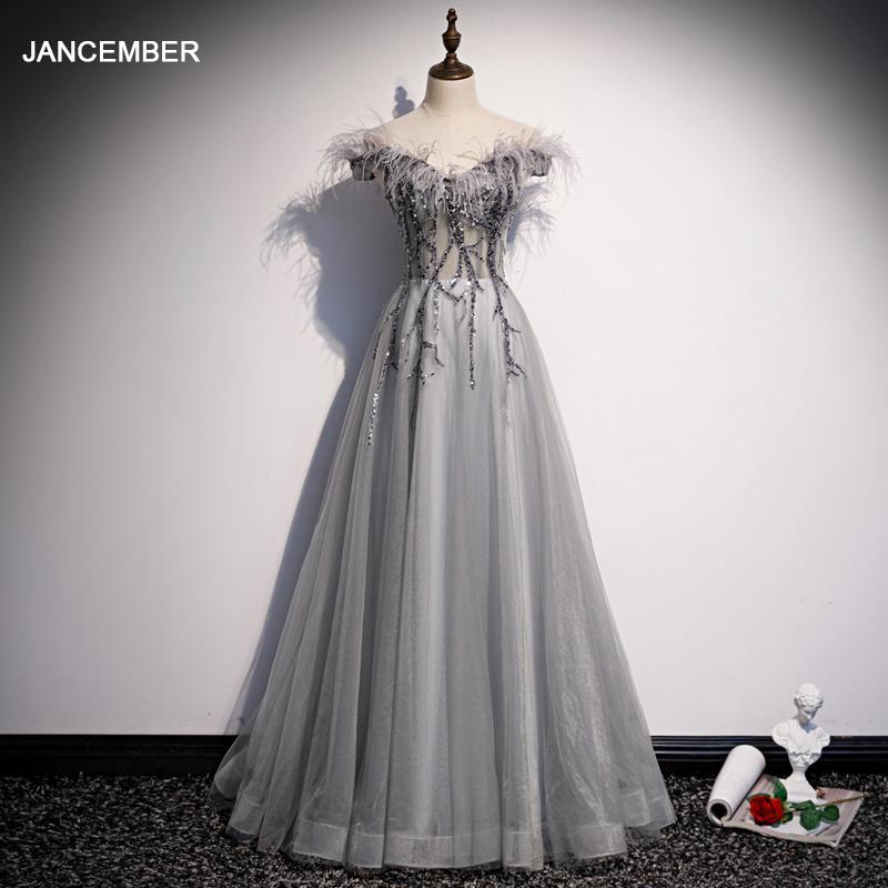 JANCEMBER Tül gri mezuniyet elbisesi pullu aplike mezuniyet elbise 2020 tüy kapalı omuz V boyun Vestidos De Graduacion