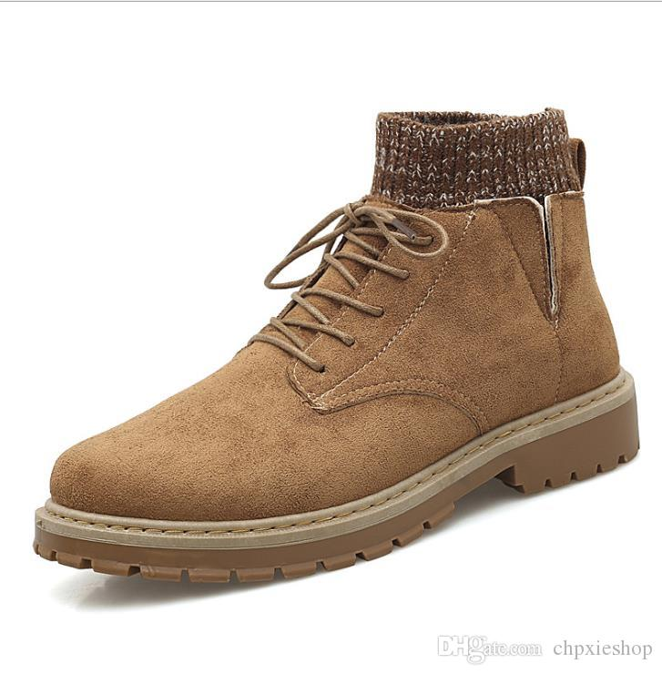 Martin Boots Men's Climax Shoes Autumn and Winter 2019 New Men's Leather Boots British Style Socks Shoes