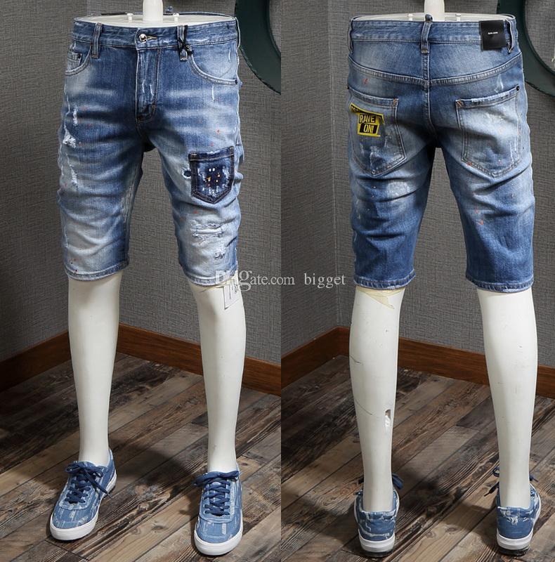 2019 Men's Short Jeans With Pocket Ripped Casual Vintage Blue Washed Knee Length Damage Denim Shorts