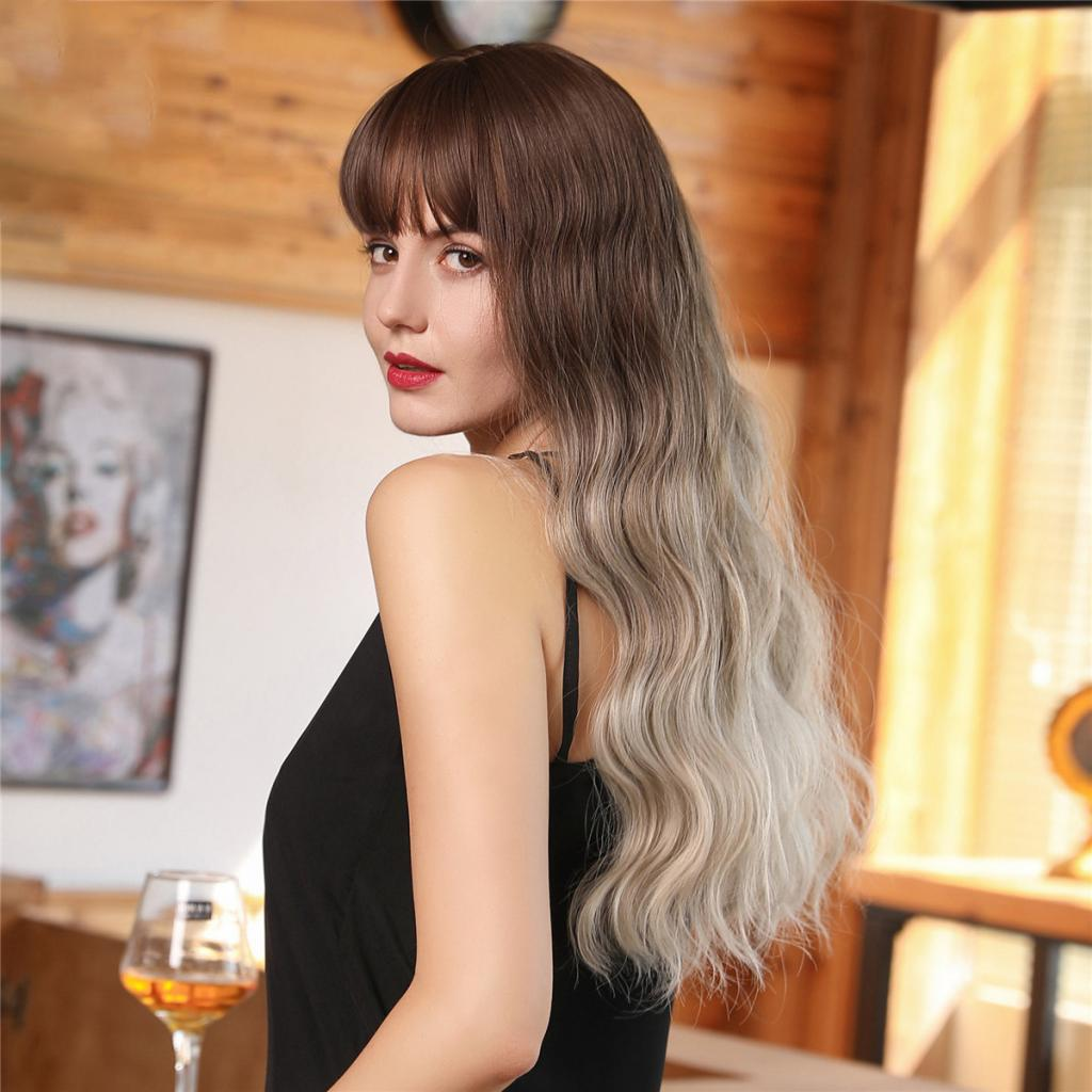Women's Synthetic Fiber Long Wavy Wig With Free Wig Cap, Brown Gradient Golden Color (24 Inches)