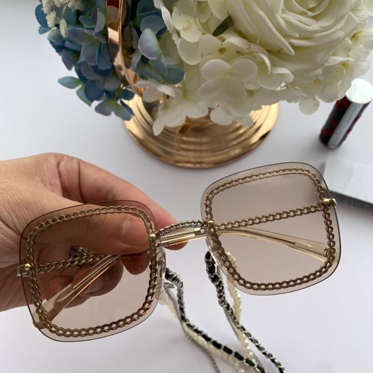 2020 HOTSALE del HC4244 Square Mixed Chain Gradiente gafas de sol HD UV400 exqusite calidad del metal + cuero + perla + cadena salida 63-15-145-caso completo